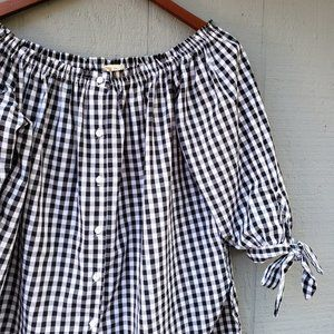 Caution to the Wind Plaid Off the Shoulder Top Med